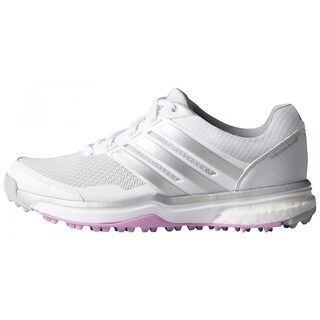 Adidas Women's Adipower Sport Boost 2 White/ Matte Silver/ Wild Orchid Golf Shoes (As Is Item)