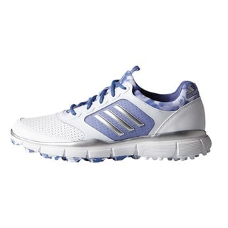 Adidas Women's Adistar Sport White/ Metallic Silver/ Baja Blue Golf Shoes