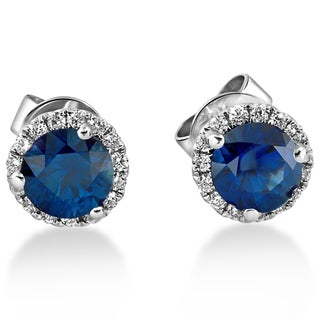 18k White Gold 1 ct TDW Diamond Blue Sapphire Halo Studs (F-G,SI1-SI2)