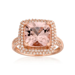14k Rose Gold Morganite and 1/2ct TDW White Diamond Solitaire Cushion Engagement Ring (H-I, I1-I2)