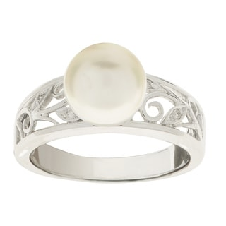 Pearls For You 14kw White Freshwater Pearl and Diamond (8.5-9 mm) (I, I1) Ring
