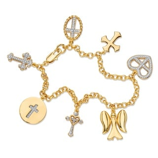 Diamond Accent Pave-Style Rolo-Link Cross and Angel Charm Bracelet 18k Yellow Goldplated 7
