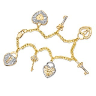 Diamond Accent Pave-Style Rolo-Link Heart and Key Charm Bracelet Yellow Goldplated 7.5