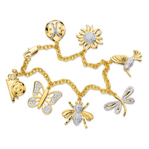 Diamond Accent Pave-Style Rolo-Link Whimsical Springtime Charm Bracelet Yellow Goldpla