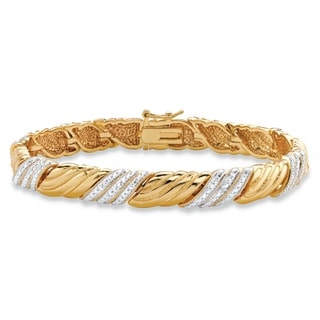 Diamond Accent Pave-Style Textured Two-tone Ribbon Bracelet 18k Yellow Goldplated 7.5 Inch