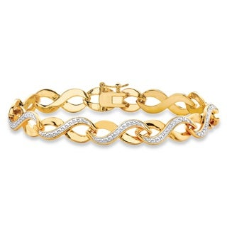 Diamond Accent Two-tone Pave-Style Infinity Link Bracelet 18k Yellow Goldplated 7.25 Inche