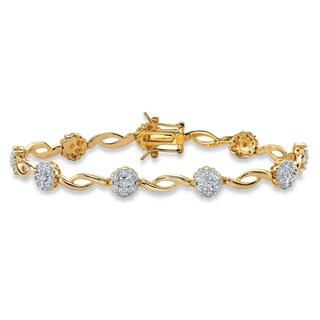1/10ct TCW Diamond Cluster Two-tone Tennis Bracelet 14k Yellow Goldplated 7.25Inches