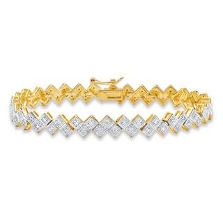 Diamond Accent Pave-Style Two-tone Geometric Bar-Link Tennis Bracelet 14k Yellow Goldplate