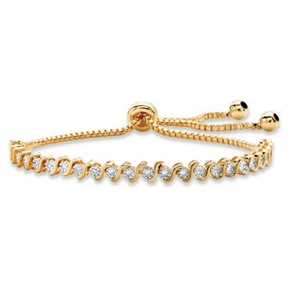 Round White Diamond Accent Adjustable Drawstring S-Link Strand Bracelet 14k Goldplated 9.2