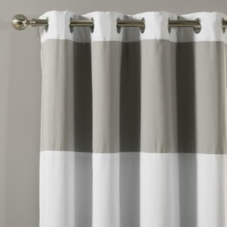 Aurora Home Rugby Stripe Cotton Blend Blackout Silver Grommet Top 84-inches Curtain Panel Pair