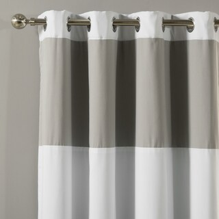 Aurora Home Rugby Stripe Cotton Blend Blackout Silver Grommet Top 84-inches Curtain Panel Pair - 52 x 84 (3 options available)