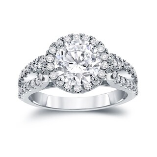 Auriya 14k Gold 2 1/3ct TDW Certified Round Cut Diamond Halo Engagement Ring