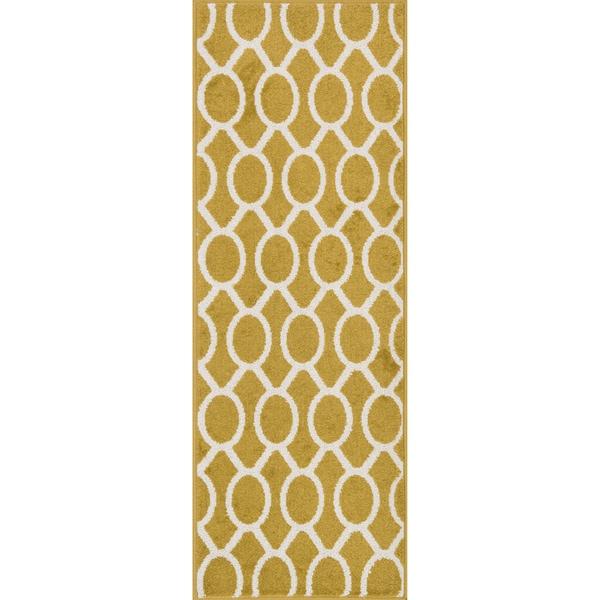 Palm Citron/ Ivory Geometric Rug (1'8 x 5')