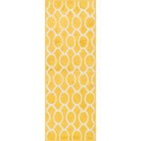 "Palm Lemon/ Ivory Geometric Rug (1'8 x 5') - 1'8"" x 4'11"""
