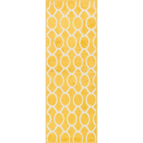 Palm Lemon/ Ivory Geometric Rug (1'8 X 5')