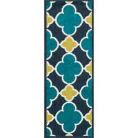 "Palm Navy/ Teal Geometric Rug - 1'8"" x 4'11"""