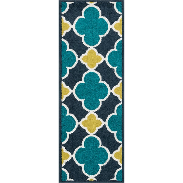 Palm Navy/ Teal Geometric Rug (1'8 x 5')
