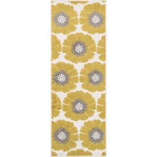 Palm Ivory/ Citron Floral Rug (1'8 x 5')