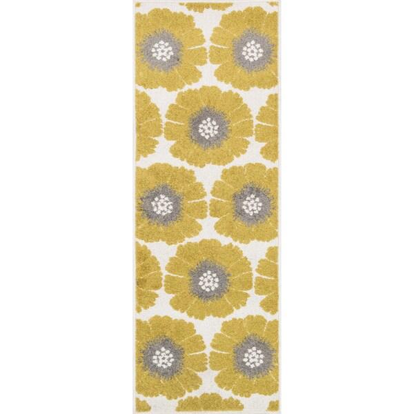 "Palm Ivory/ Citron Floral Rug - 1'8"" x 4'11"""