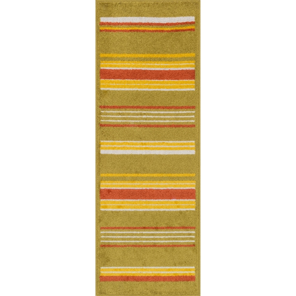 "Palm Citron/ Multi Striped Rug - 1'8"" x 4'11"""