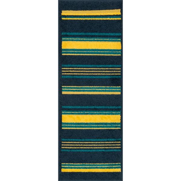 Palm Navy/ Multi Striped Rug (1'8 x 5')