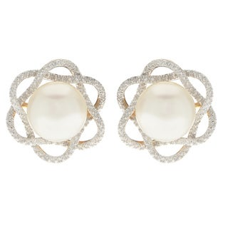 Pearls For You 10k White Freshwater Pearl and Diamond Stud (9.5-10 mm) (H-I, I2) Earrings