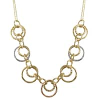 Luxiro Tri-color Gold Finish Circles Link Necklace