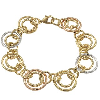 Luxiro Tri-color Gold Finish Circles Link Bracelet