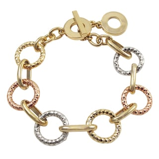 Luxiro Tri-color Gold Finish Circles Link Toggle Bracelet