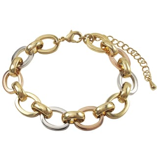 Luxiro Tri-color Gold Finish Oval Link Bracelet