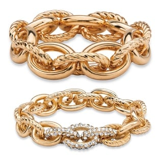 Oval-Link Designer-Inspired Crystal Accent 2-Piece Tailored and Textured Stretch Bracelet