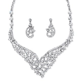 Round Crystal Tiara-Inspired Scroll Necklace and Earrings Set in Rhodium-Plated Finish Bol
