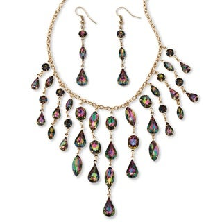 Mystic Crystal Multi-Shaped Bib Necklace and Earrings Set in Goldtone Color Fun