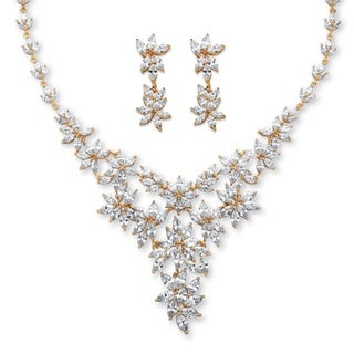 56 1/10ct TCW Marquise-cut Cubic Zirconia Flower Motif Necklace and Earrings Set 14k Goldp