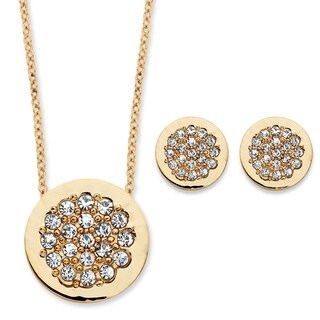 7/8ct TCW Round Cubic Zirconia Slide Pendant and Button Earrings Two-Piece Set in Goldtone