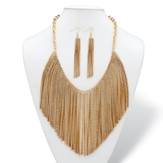 Mesh Fringe Two-Piece Bib Necklace and Drop Earrings Set with Rolo-Link Chain in Goldtone
