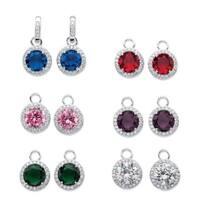 8 4/5ct TCW Round Jewel Cubic Zirconia 6-Pair Set of Interchangeable Halo Drop Earrings in