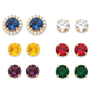 4 7/8ct TCW Round Simulated Gemstone and Cubic Zirconia 6-Pair Interchangeable Halo Stud E