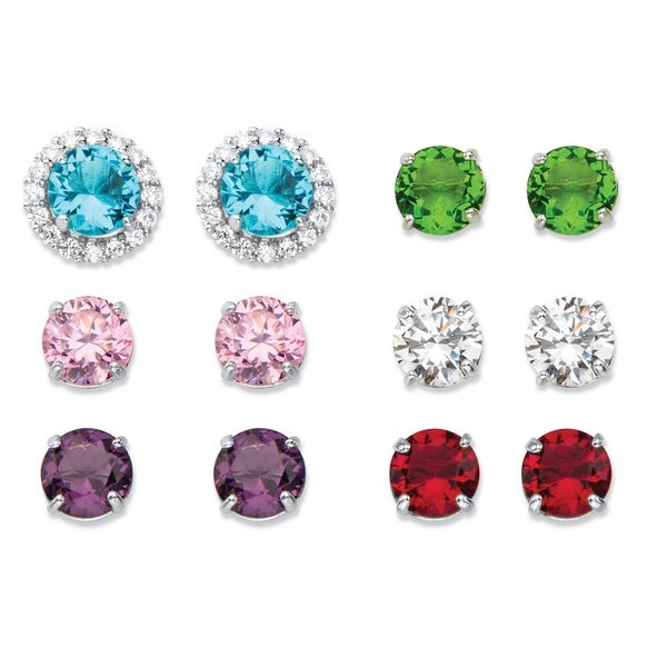 8 7/8ct TCW Round Simulated Gemstone and Cubic Zirconia 6-Pair Interchangeable Halo Stud E