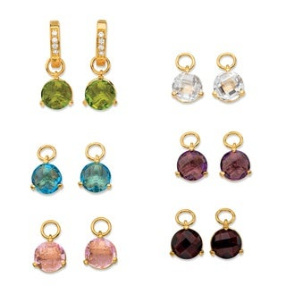 4 1/8ct TCW Round Simulated Gemstone and Cubic Zirconia 6-Pair Set of Interchangeable Char