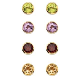 3 7/8ct TCW Round Genuine Gemstone 4-Pair Set of Bezel-Set Stud Earrings in 18k Gold over