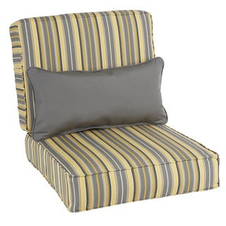 Oakley Sunbrella Striped Indoor/ Outdoor Corded Chair Cushion Set and Lumbar Pillow