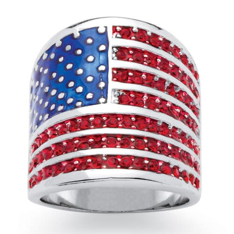 Round Red Crystal Silvertone Patriotic American Flag Ring Color Fun