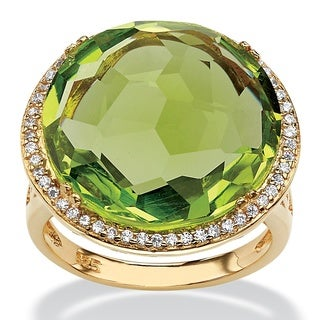 1/4ct TCW Checkerboard-cut Simulated Peridot and Cubic Zirconia Halo Cocktail Ring 14k Gol