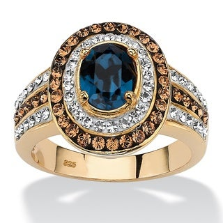 Oval-cut Sapphire Blue Crystal Halo Ring with Brown Crystal Accents Color Fun