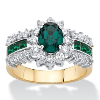 7/8ct TCW Oval-cut Emerald Green Crystal and White Cubic Zirconia Halo Cocktail Ring 14k G