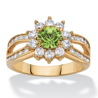1 1/10ct TCW Round Peridot Green Crystal and White Cubic Zirconia 14k Goldplated Halo Cock