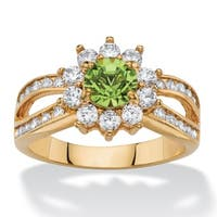 1 1/10ct TCW Round Peridot Green Crystal and White Cubic Zirconia 14k Goldplated Halo