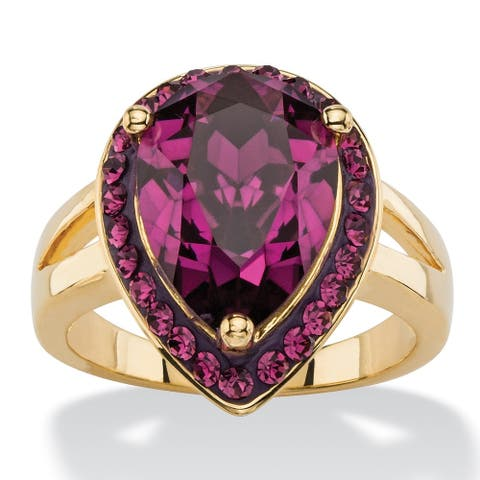 Pear-cut Amethyst Purple Crystal Halo Cocktail Ring 14k Goldplated Color Fun