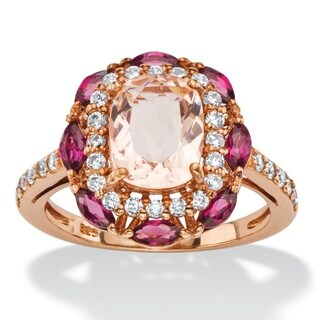 1 1/10ct TCW Cushion-cut Simulated Peach Morganite, Rose Rhodolite and Cubic Zirconia Scal